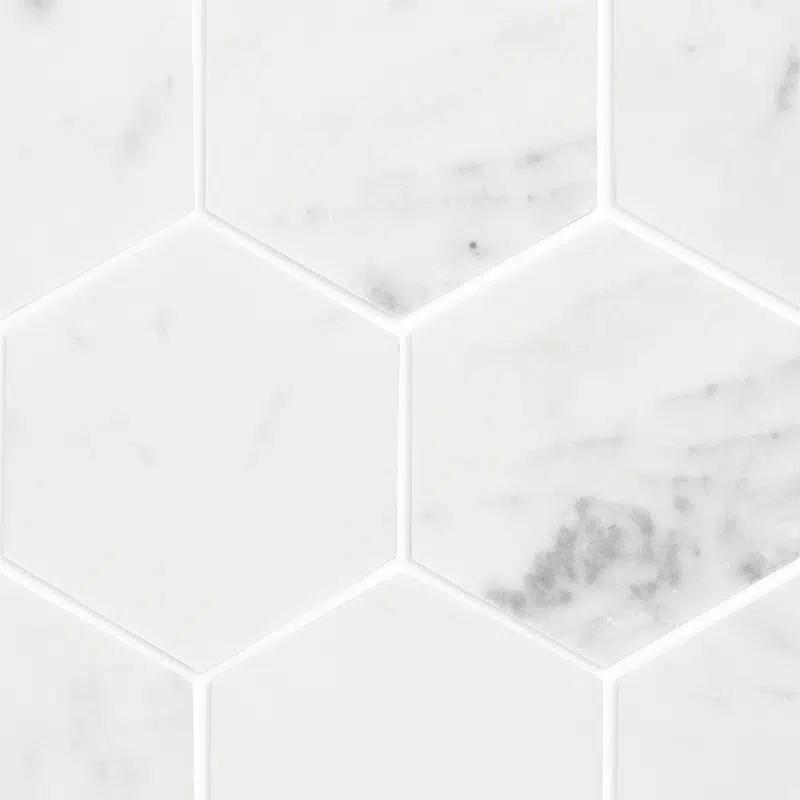 carrara marble large hexagon mosaic tiles 305x285