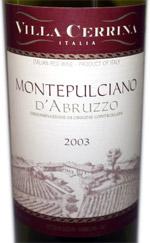 Villa Cerrina Montepulciano d'Abruzzo red wine label