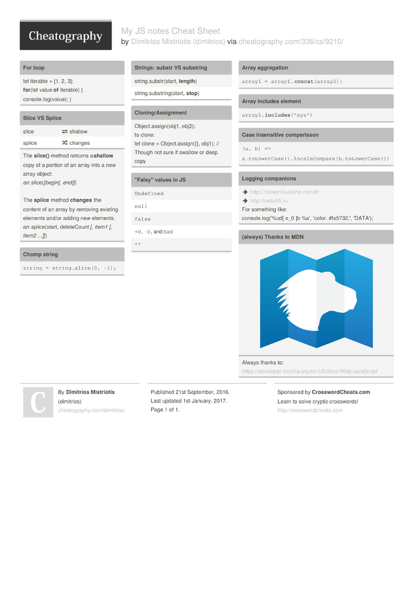 My JS notes Cheat Sheet by dimitrios - Download free from ...