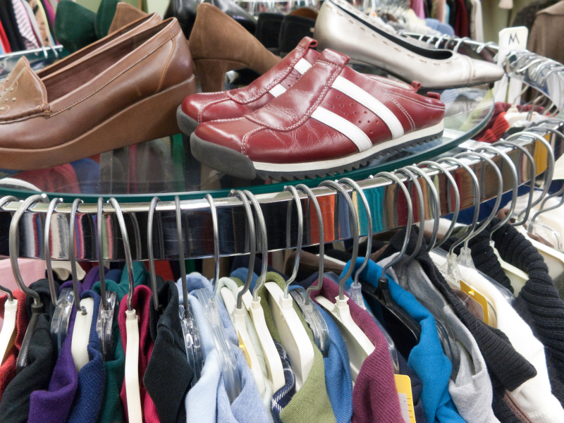 Used clothes and shoes at a consignment store
