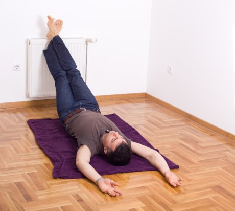 Relaxing with legs on the wall, exercise, fitness