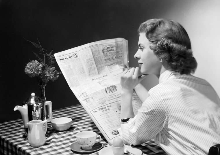 Image result for reading the newspaper eating breakfast 1950