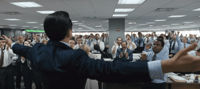 Wolf of Wall Street scene in office
