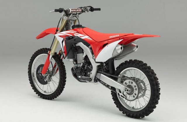 The 2017 Honda CFR 450R in red with white trim