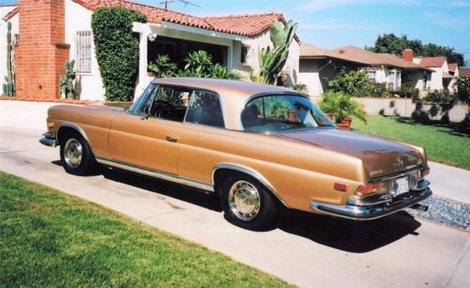 View of brown 1970 Mercedes 280 SE coupe