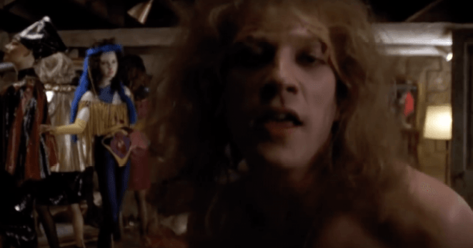Buffalo Bill looks into the camera during his dance scene in 'Silence of the Lambs'