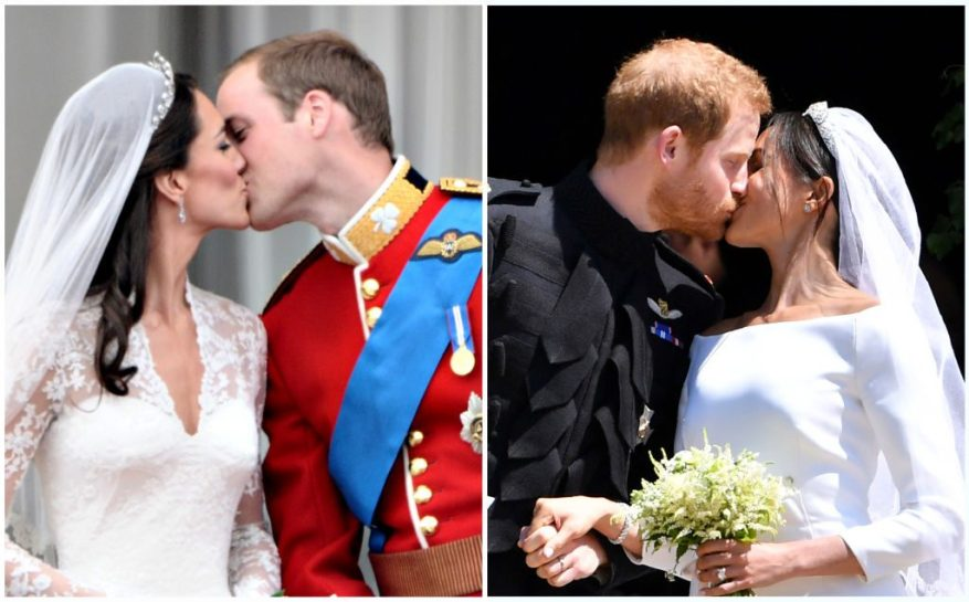 (L) Prince William and Kate Middleton wedding day, (R) Prince Harry and Meghan Markle wedding day