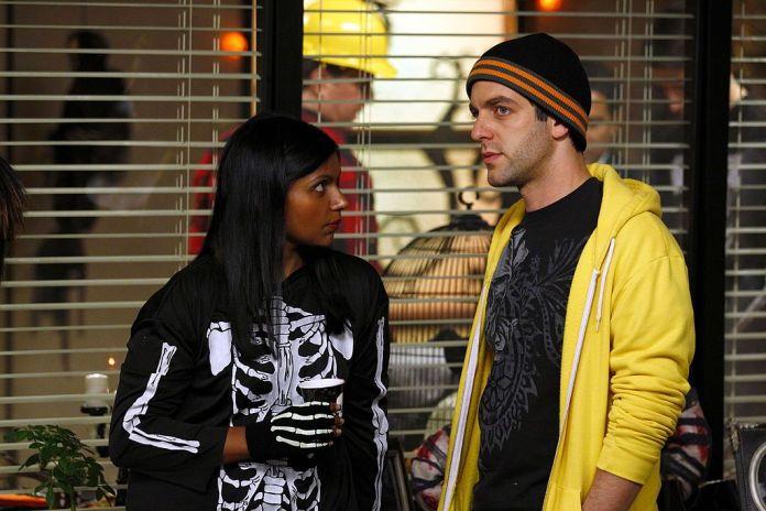 Mindy Kaling as Kelly Kapoor, BJ Novak as Ryan Howard in `` The Office ''