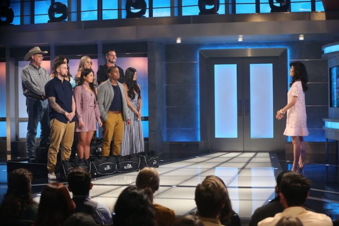 Host Julie Chen Moonves with house guests: LR bottom row: Nick Macaroni, Isabella Wang, David Alexander, Analyze Talvera;  L_R top series: Cliff Hogg, Jessica Milagros, Christie Murphy, Sam Smith on 'Big Brother'