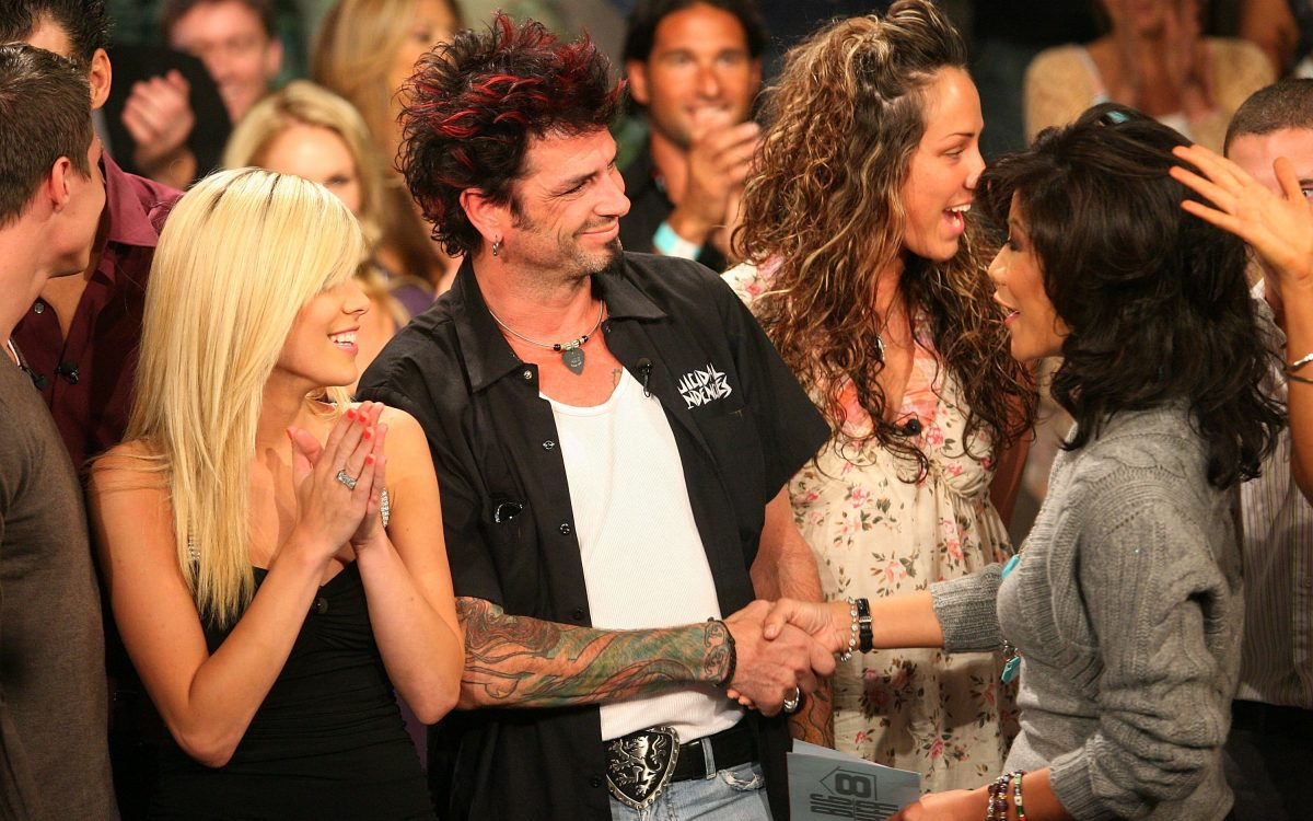 Contestant Daniele Donato, Dick Donato, Big Brother 8 winner, and Julie Chen