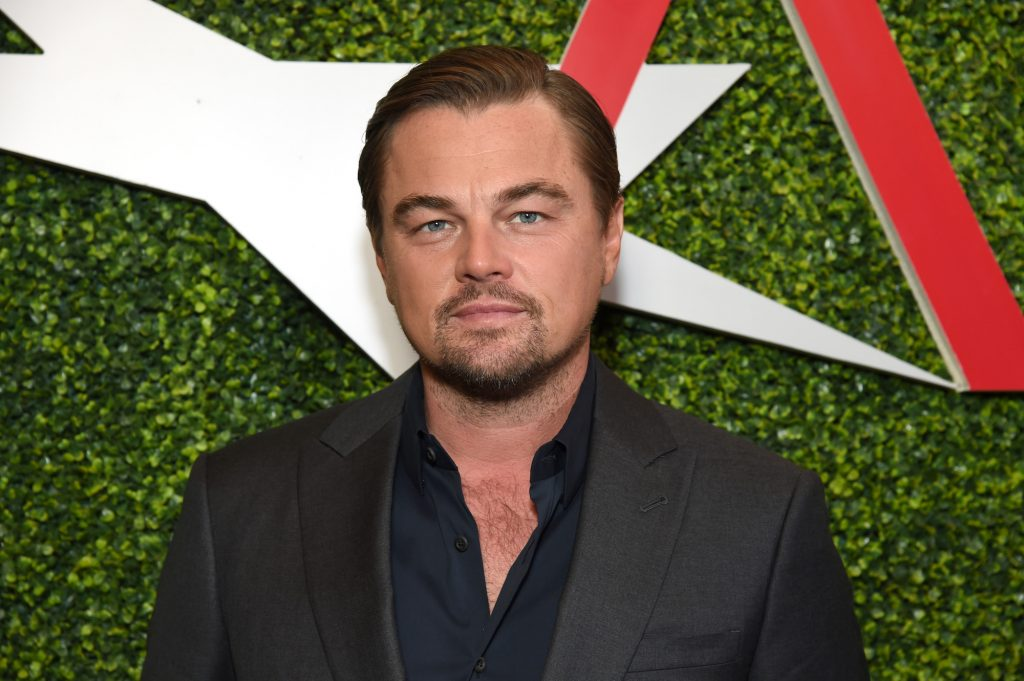 Leonardo DiCaprio smiles a little in front of a green background