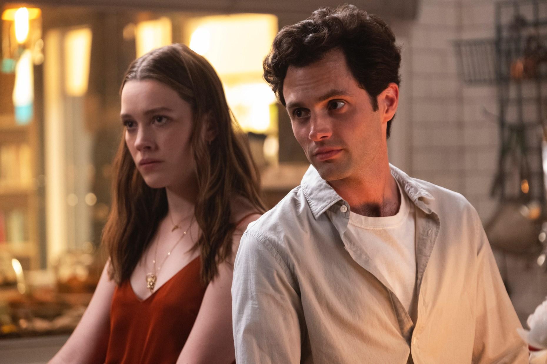 Victoria Pedretti as Love Quinn and Penn Badgley as Joe Goldberg / Will in Season 2 of YOU.  '