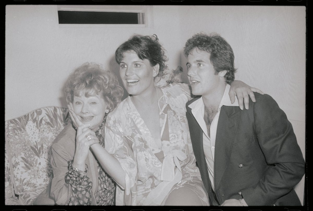 Lucille Ball, Lucie Arnaz, and Desi Arnaz Jr. at the theater