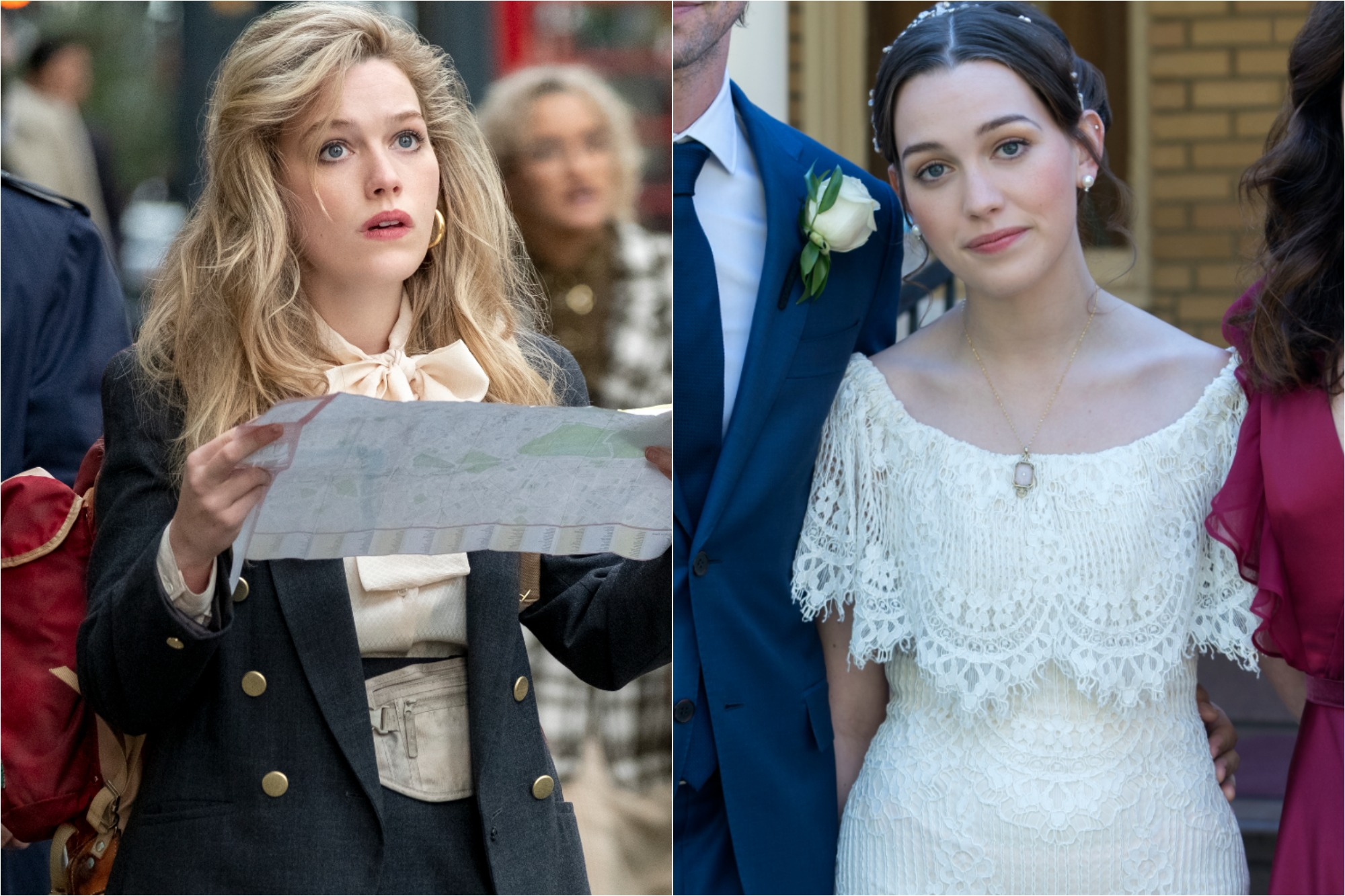 (L) Victoria Pedretti as Dani in 'THE HAUNTING OF BLY MANOR' / (R) Pedretti as Nell in 'THE HAUNTING OF HILL HOUSE'