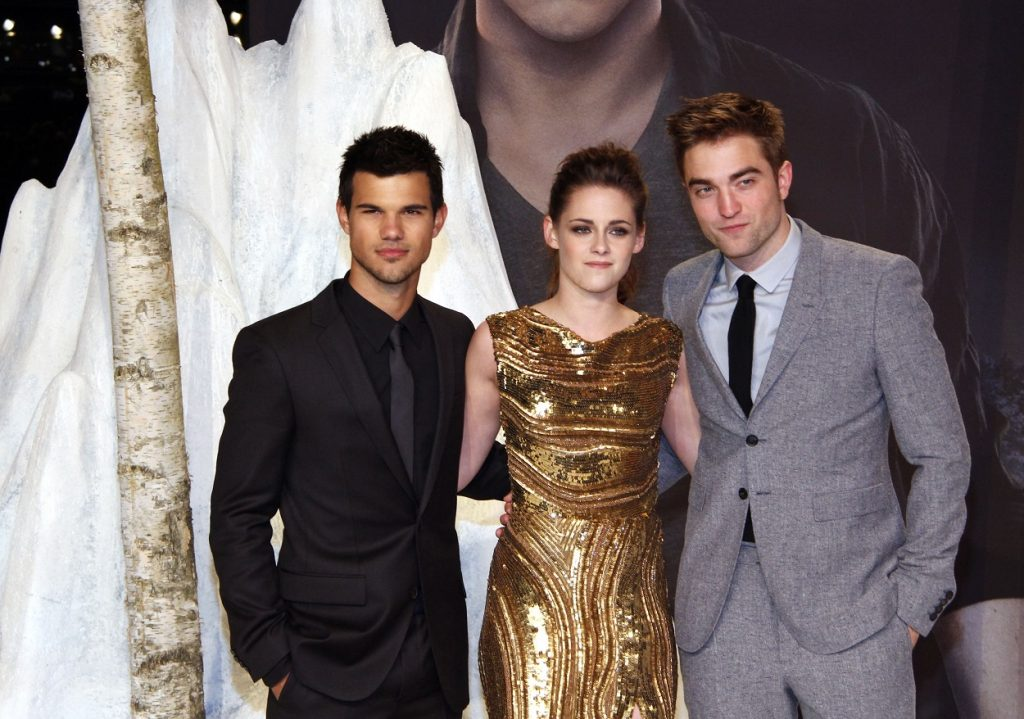 Evening cast: Taylor Lautner, Kristen Stewart, and Robert Pattinson