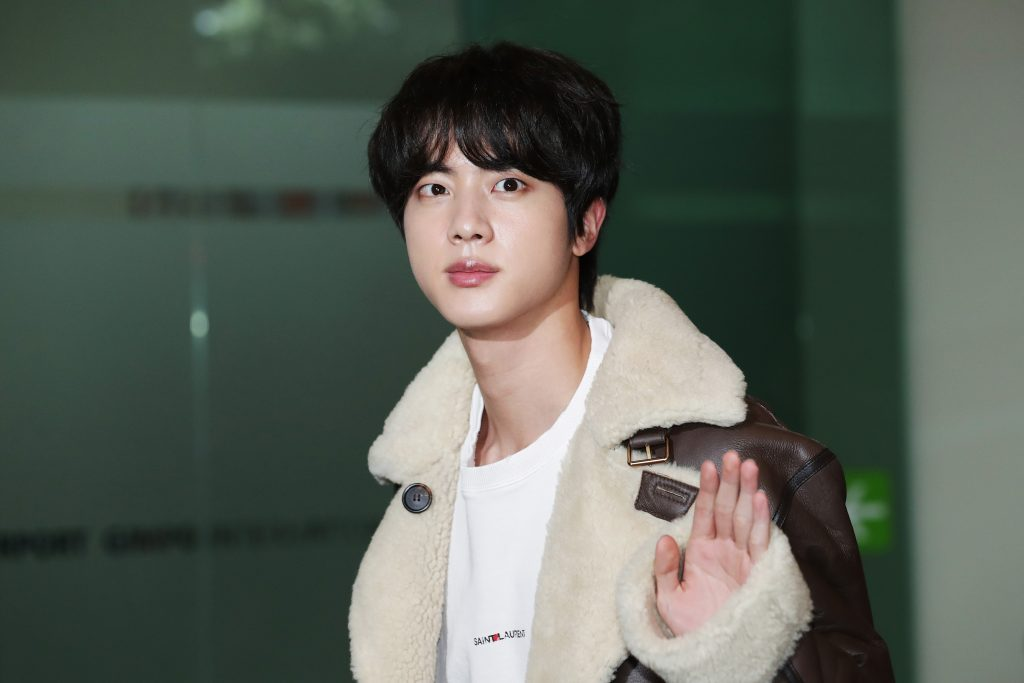 Jin of a BTS boy band can be seen leaving at Gimpo International Airport