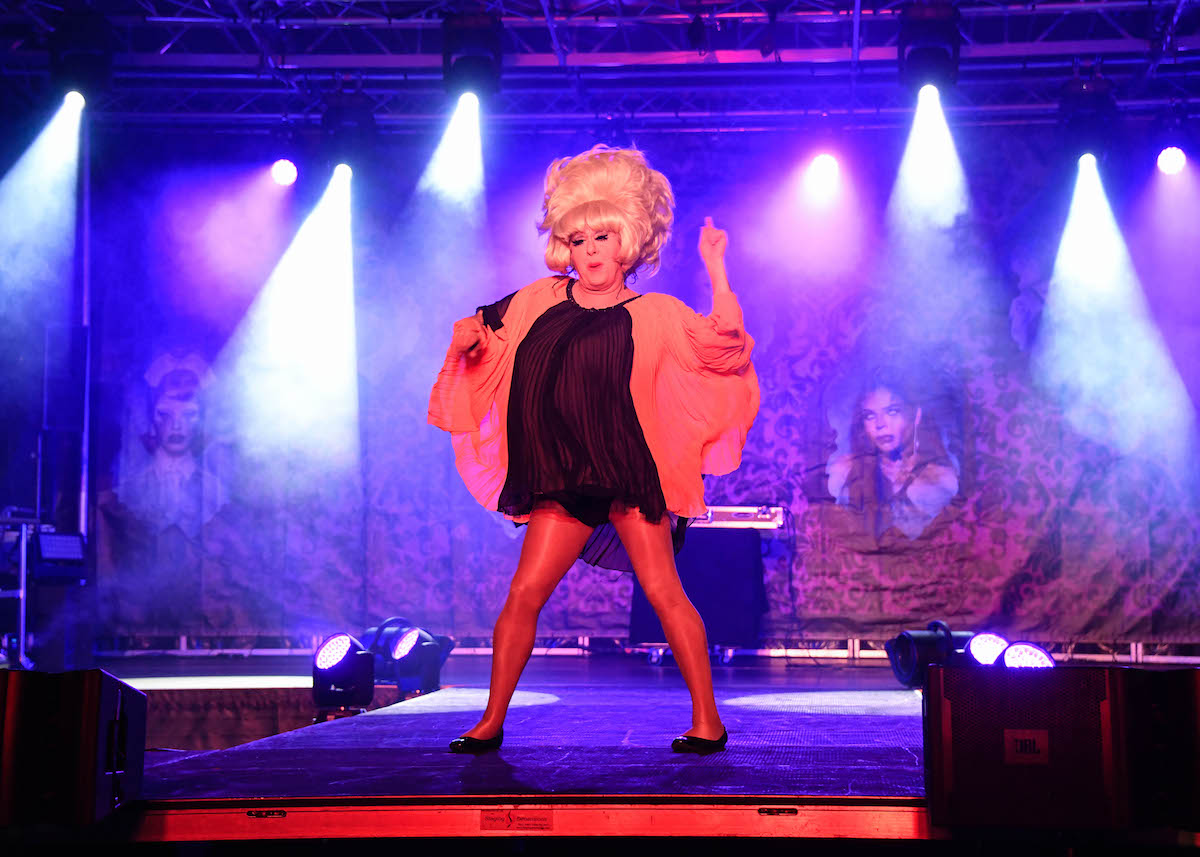 Lady Bunny (John Ingle) performs with dancers at the Voss Events Halloween Drive N 'Drag show