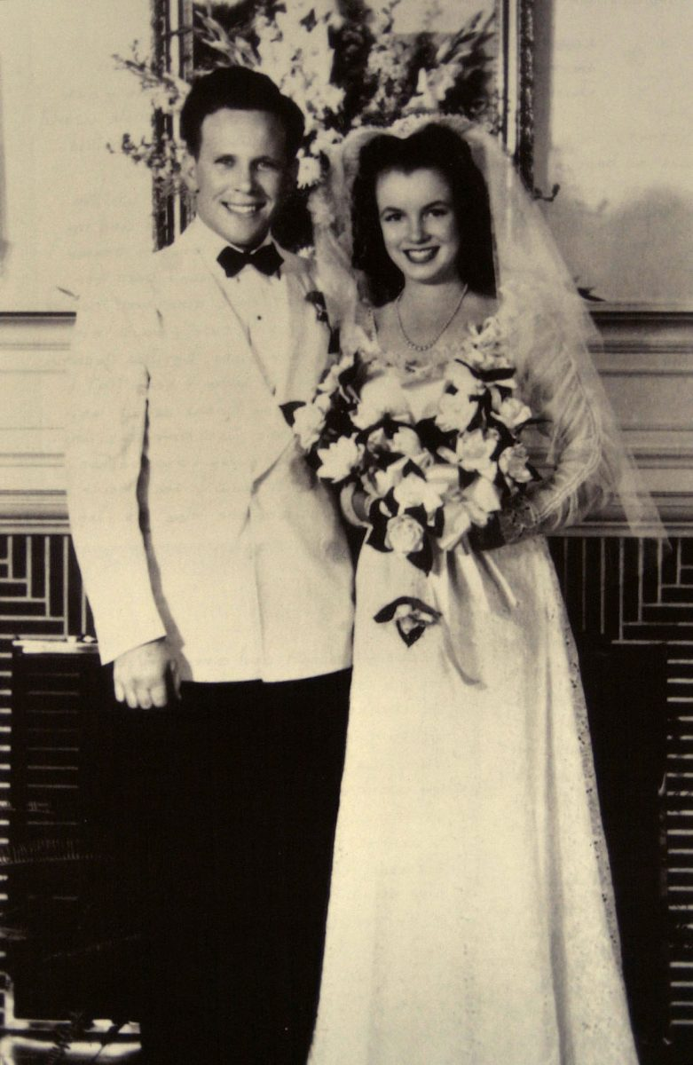 Jim Dougherty and Norma Jeane Baker on their wedding day in June 1942.