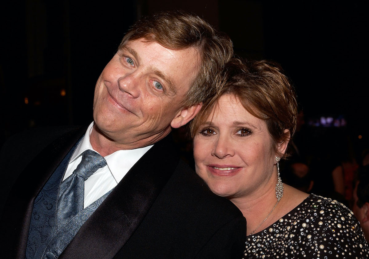 Mark Hamill and Carrie Fisher at the presentation of the AFI Life Achievement Award to George Lucas