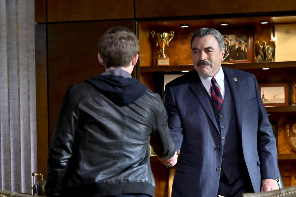 Will Hochman and Tom Selleck on the set of 'Blue Bloods' |  John Paul Filo / CBS through Getty Images