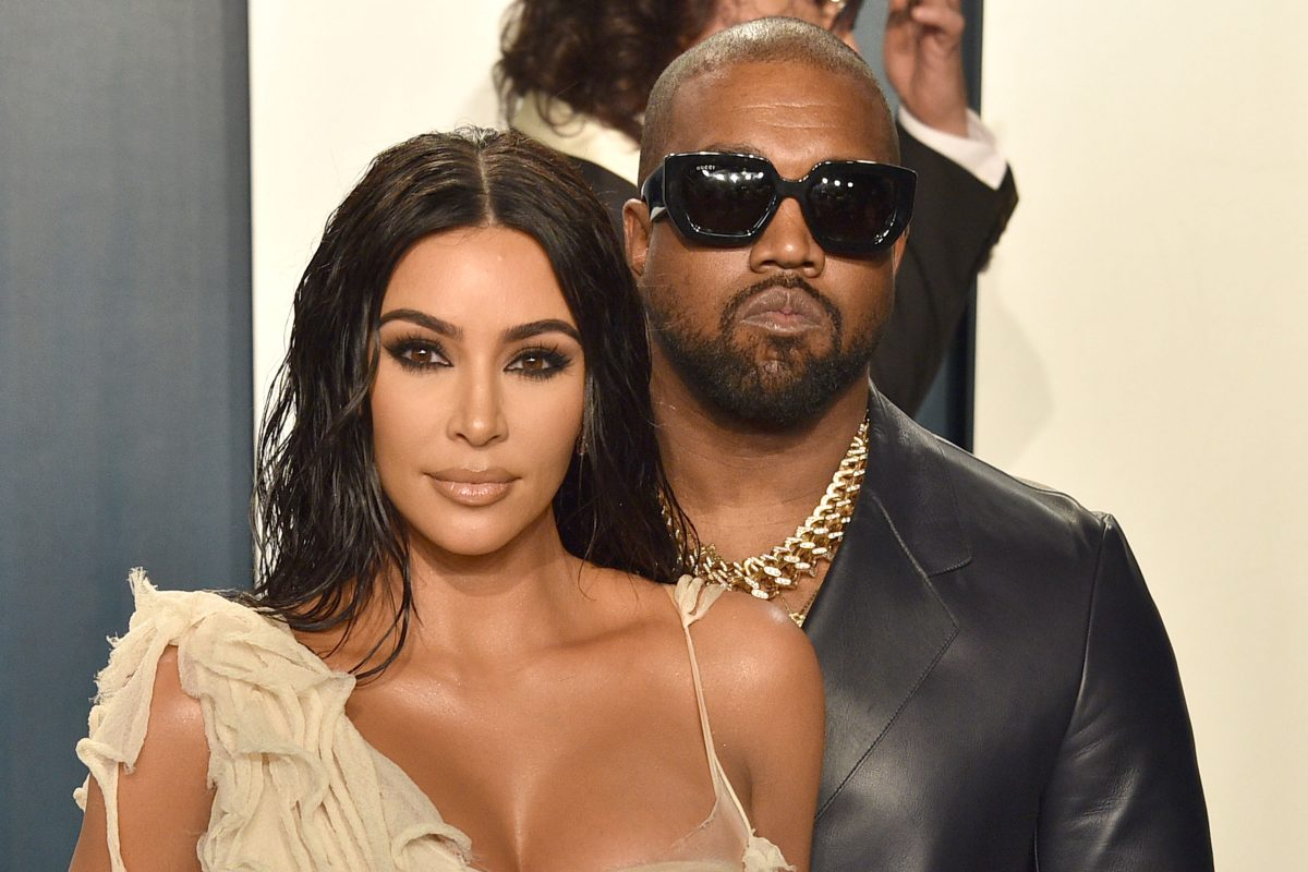Kim Kardashian West and Kanye West attend the 2020 Vanity Fair Oscar Party at the Wallis Annenberg Center