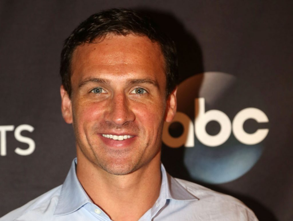 "Ryan Lochte stands as Season 23 of ""Dancing With The Stars"" meets with the media at Hollywood Times Square on September 7, 2016 in New York City."