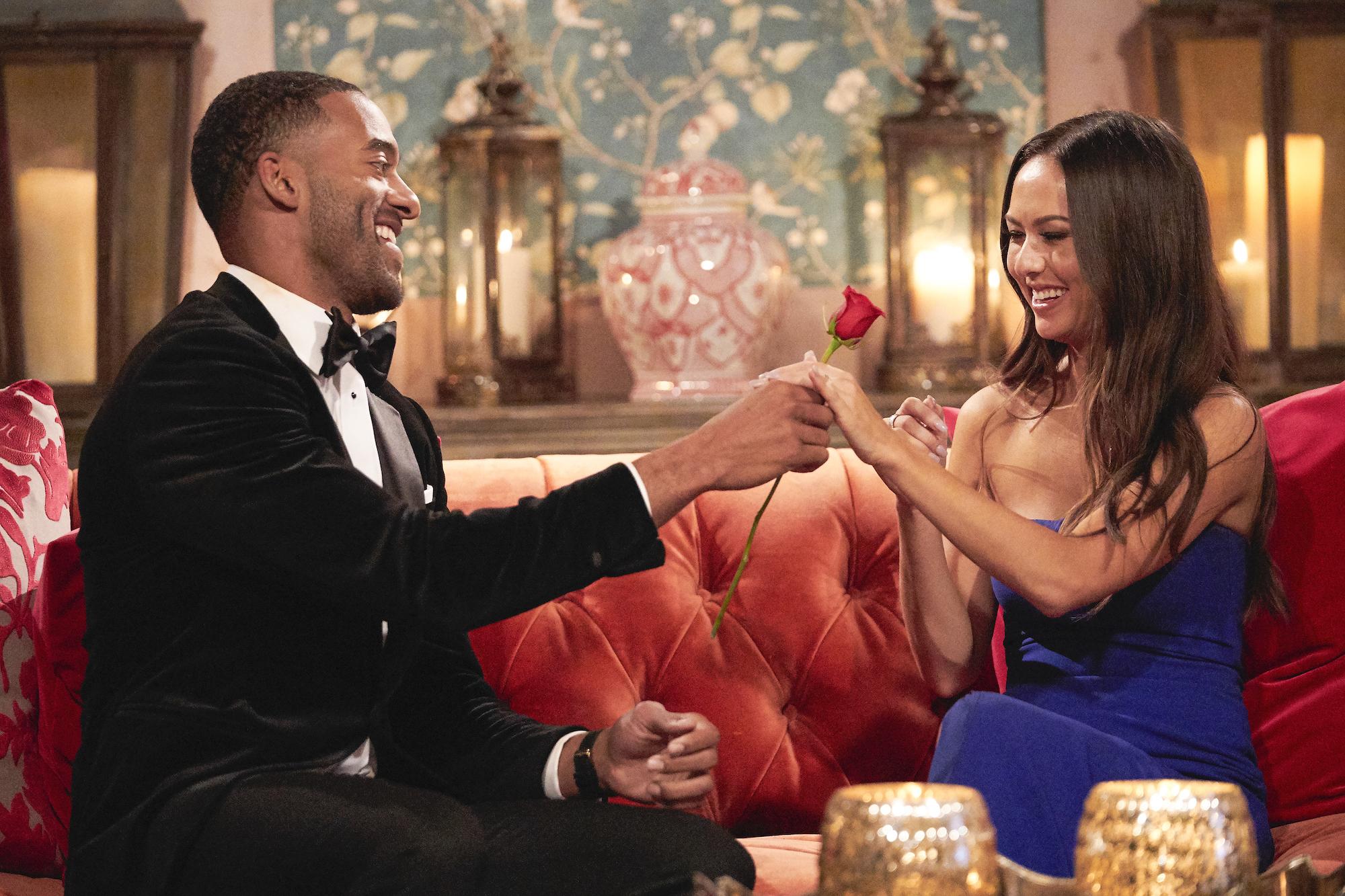 Matt James and Abigail Heringer on the first program of 'The Bachelor'