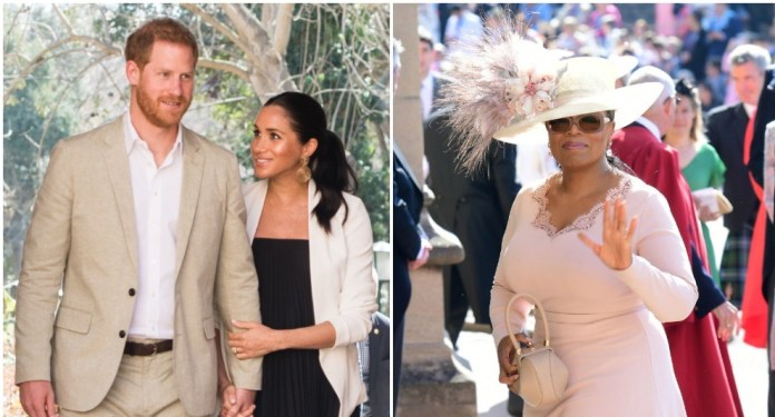 (L) Prince Harry and Meghan Markle at Andalusian Gardens, (R) Oprah Winfrey at Prince Harry and Meghan's Wedding
