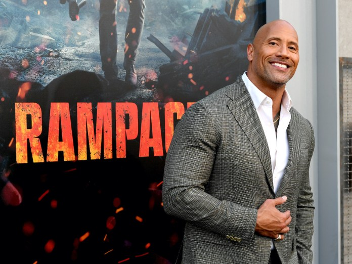 Dwayne Johnson at the premiere of Warner Bros. Pictures