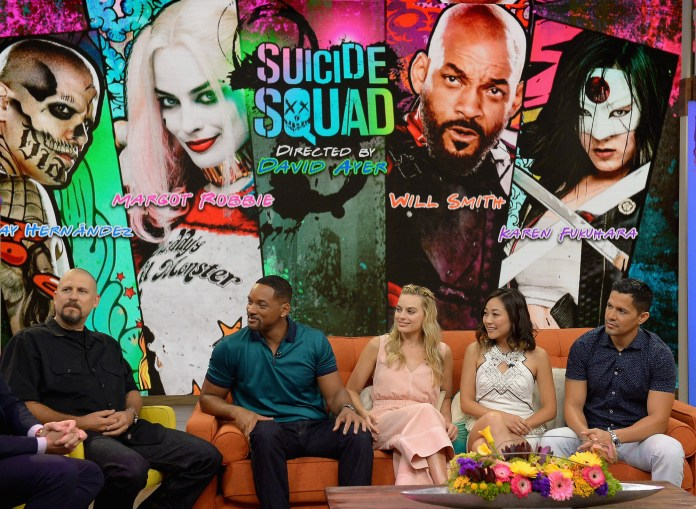 David Ayer, Will Smith, Margot Robbie, Karen Fukuhara and Jay Hernandez on the set of Universe