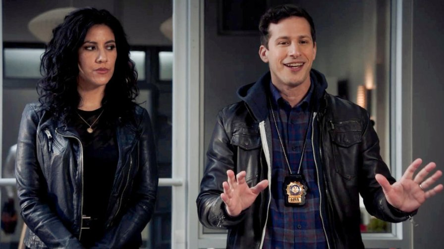 Rosa Diaz and Jake Peralta stand side by side in 'Brooklyn Nine-Nine'