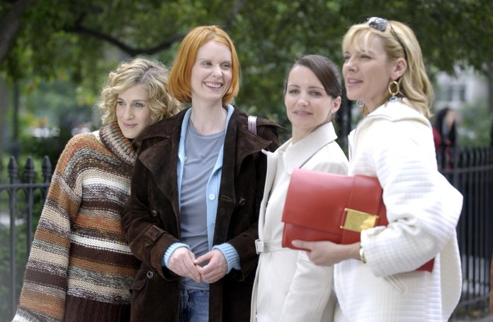 Sarah Jessica Parker, Cynthia Nixon, Kristin Davis and Kim Cattrall in Sex and the City filmed an episode of the series in May 2002.