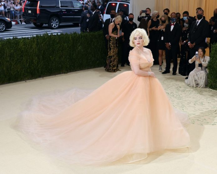 Billie Eilish arrived at the 2021 Met Gala wearing a nude tulle gown with a 15-foot train.