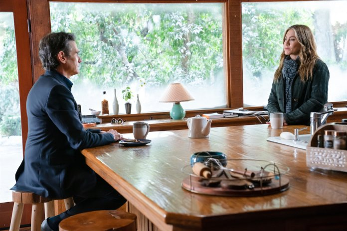 Billy Crudup and Jennifer Aniston sit opposite each other on a kitchen island in 'The Morning Show' Season 2 Episode 1: 'My List Favorite Year'.