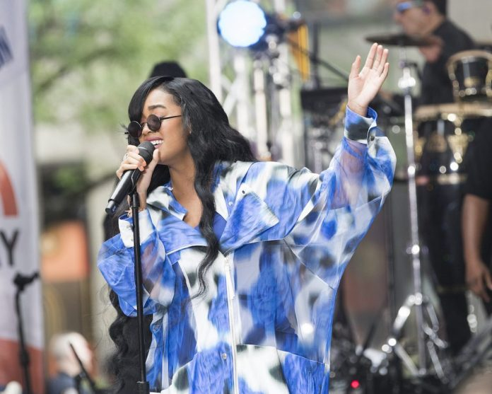 HER performs at the Today Show at Rockefeller Plaza on June 25, 2021 in New York City.