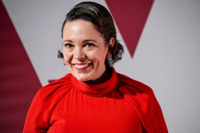 Olivia Colman in a red dress on the red carpet