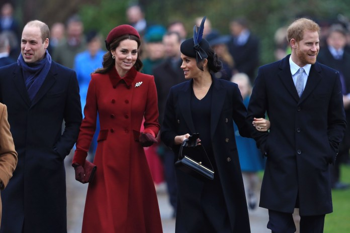 Prince William, Kate Middleton, Meghan Markle and Prince Harry arrive at church together on Christmas Day, 2018