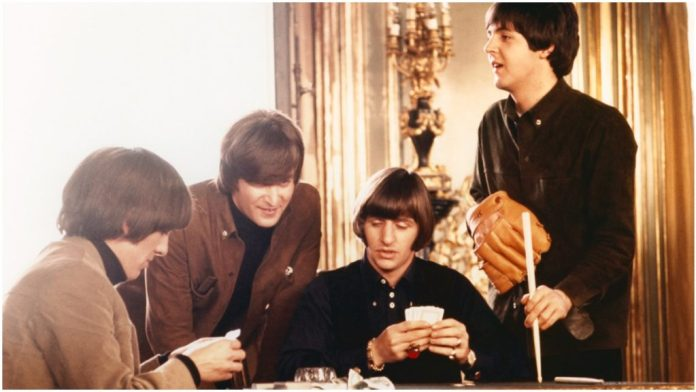 The Beatles on the sets of the movie 'Madad'.