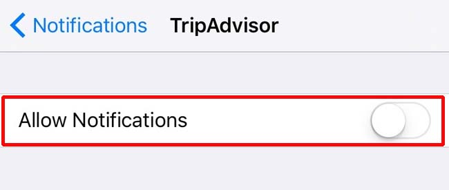 Notifications setting for Apple's iPhone