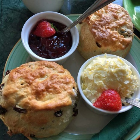 Scones, strawberry jam, and clotted cream at Chocolate Theatre Cafe Bar - Windsor, England