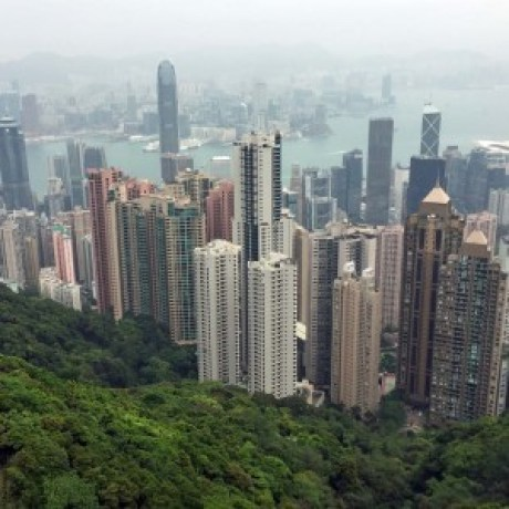 View From Sky Terrace 428 on top of Peak Tower on Victoria Peak - Hong Kong Island, Hong Kong, China