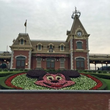 Mickey Mouse flower bed in front of Hong Kong Disneyland's Main Street Train Station - Hong Kong, China