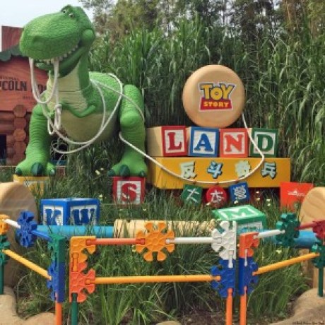 Rex welcomes you to Toy Story Land - Hong Kong Disneyland, Hong Kong, China