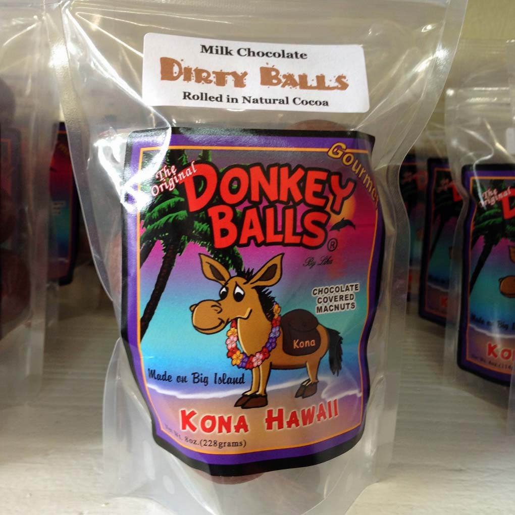 Original Donkey Balls Factory and Store, Dirty Balls - Milk Chocolate Covered Mac Nuts - Kealakekua, Big Island, Hawaii, USA