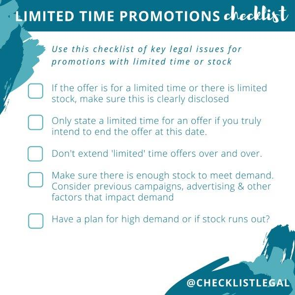 Checklist Legal Limited Time Promotion Checklist 3 small