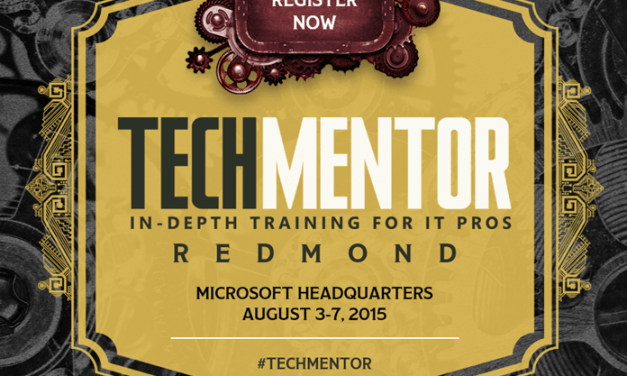 Speaking at TechMentor 2015 in Redmond