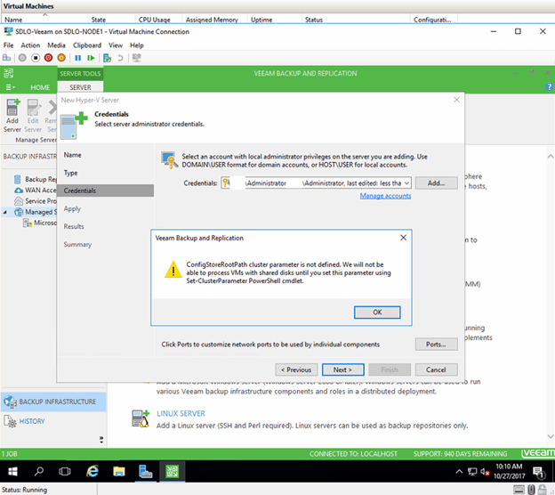 VEEAM TROUBLESHOOTING TIPS – ADD WINDOWS SERVER 2016 CLUSTER