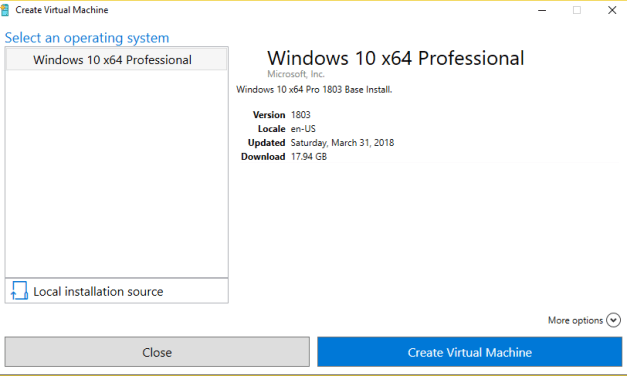 Hyper-V in Windows 10:  Quick Create VMs from Template