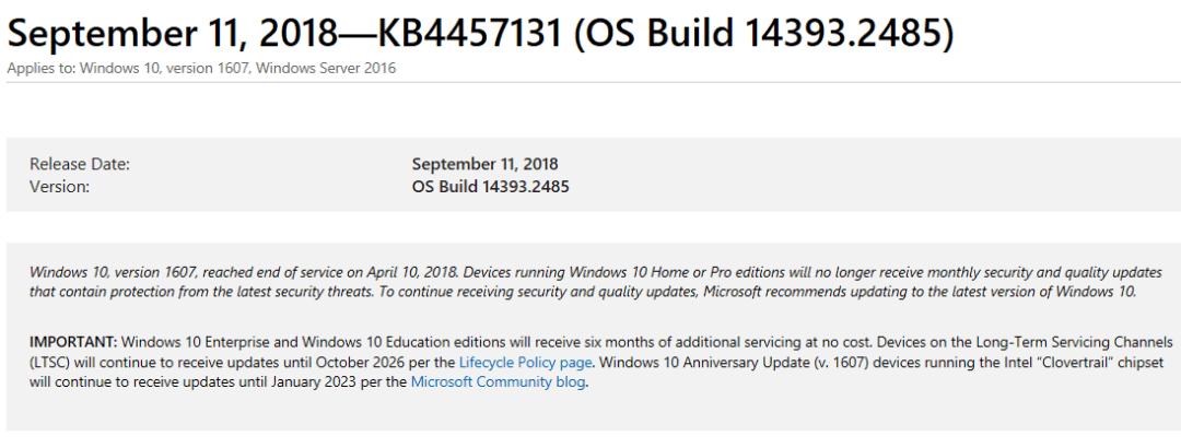windows 2016 cumulative update july 2018