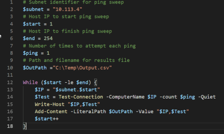 Ping Sweep Using PowerShell -Quick and Dirty – #PowerShell #MVPHour
